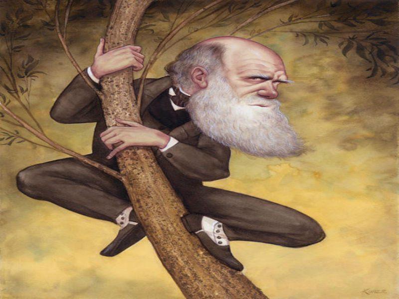 Caricatura de Charles Darwin Franco contra la ciencia