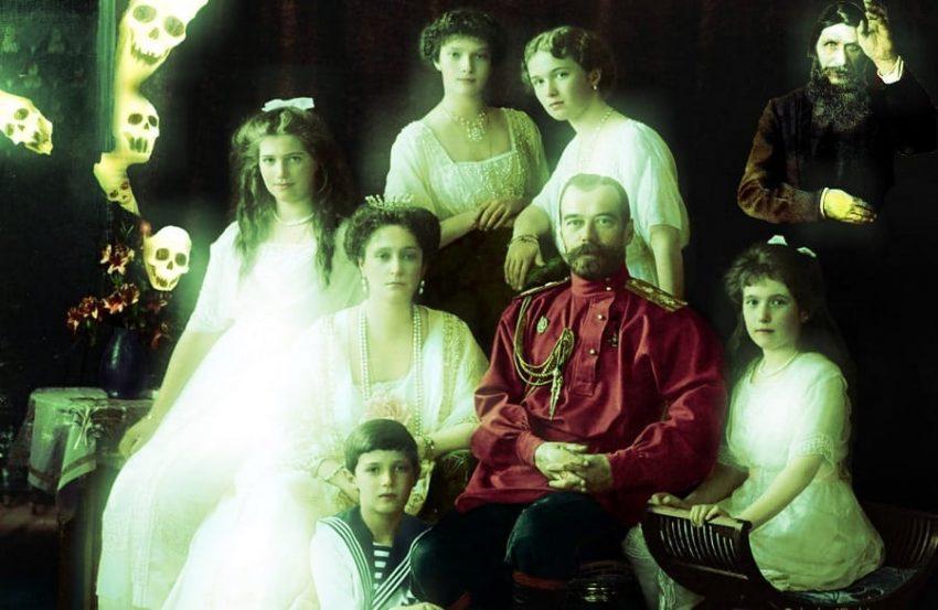 Familia Romanov con el zar Nicolas II