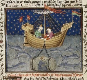 Alejandro Magno y un modelo de submarino