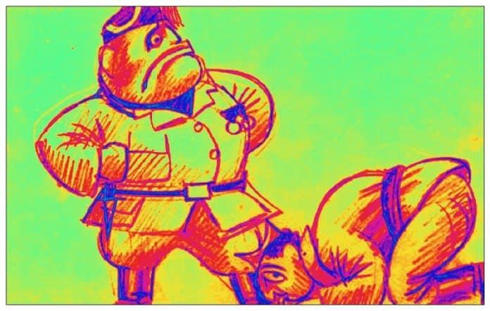 Caricatura de Franco y Mussolini sobre la ayuda italiana en la guerra civil española