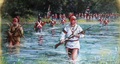 Tropas británicas auxiliadas por nativos americanos