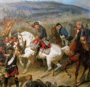 Federico II de Prusia a caballo durante las Guerras de Silesia