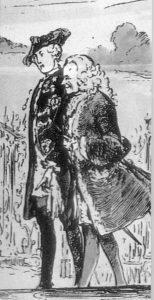 Federico II y Voltaire paseando en Sansoucci