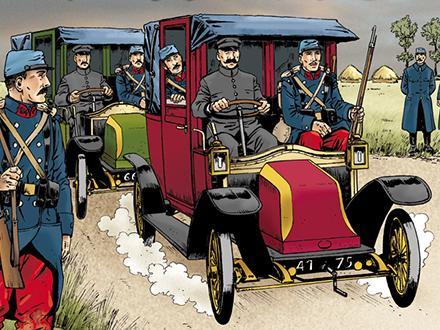 Los taxis de Marne en el frente francés en la Primera Guerra Mundial. Taxis en la Primera Guerra Mundial