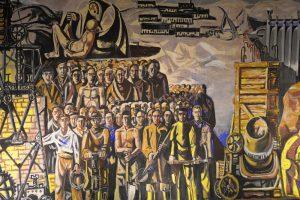 Mural con obreros en el pantano de Salime de Vaquero Turcios