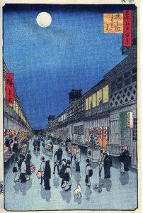 barrio Saruwaka-machi famosas vistas de Edo Hiroshige Museo de Brooklyn. Ukiyo-e