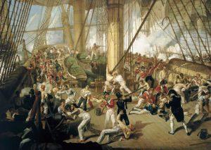 Almirante Nelson herido en el Victory en la batalla de Trafalgar
