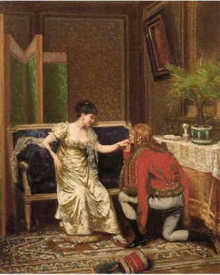 El General Lasalle y la Marquesa de Sali húsar cortejando dama