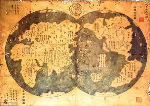 mapa atribuido a Zhen He - Chinos descubrieron América
