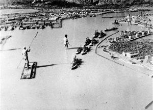 Maqueta japonesa de Pearl Harbor.