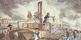 verdugo y decapitación con guillotina