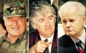 Mladić, Karadzić y Milosević