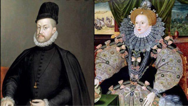 Felipe II e Isabel I monarcas enfrentados