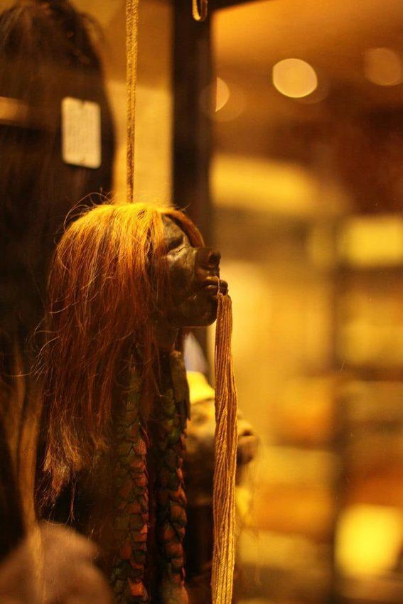 Tzantza o cabeza reducida en el Museo Pitt Rivers (Oxford)
