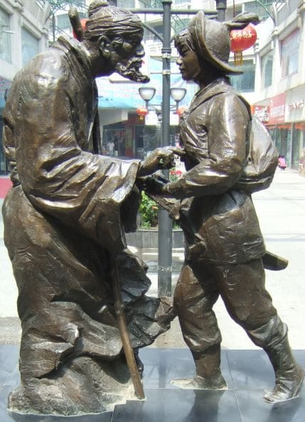 Mulán junto a su padre escultura o estatua china
