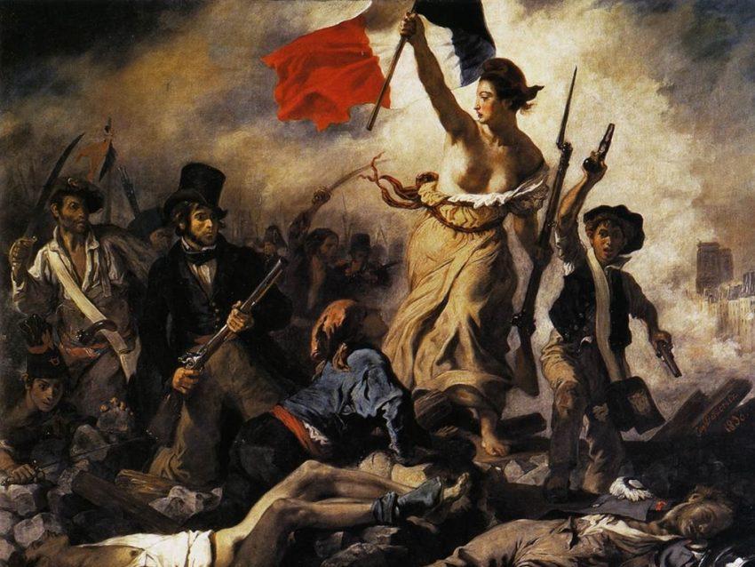 la era de las revoluciones liberales - Delacroix - La libertad guiando al pueblo cuadro del Museo del Louvre - París