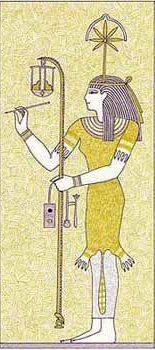 Seschat diosa de los escribas egipcia vestida con piel de leopardo