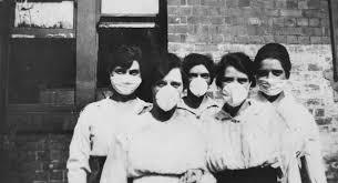 Mujeres con mascarilla para prevenir la gripe española, virus A H1N1