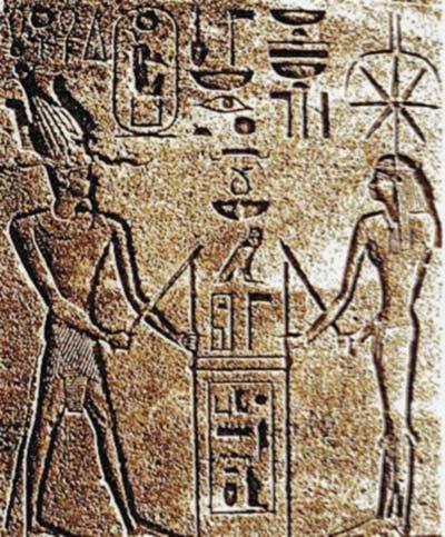 Relieve de Seshat y la faraona Hatshepsut.