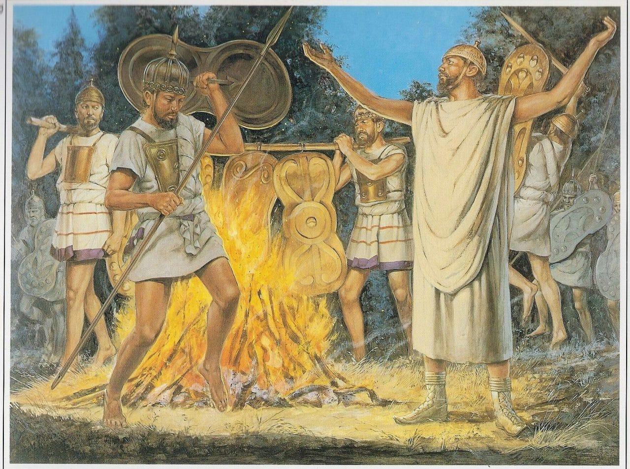 Recreación de los primeros sacerdotes salios encargados de custodiar los escudos sagrados romanos