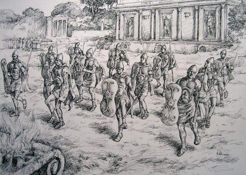 Reconstrucción de procesión saliar equipados con escudos sagrados romanos