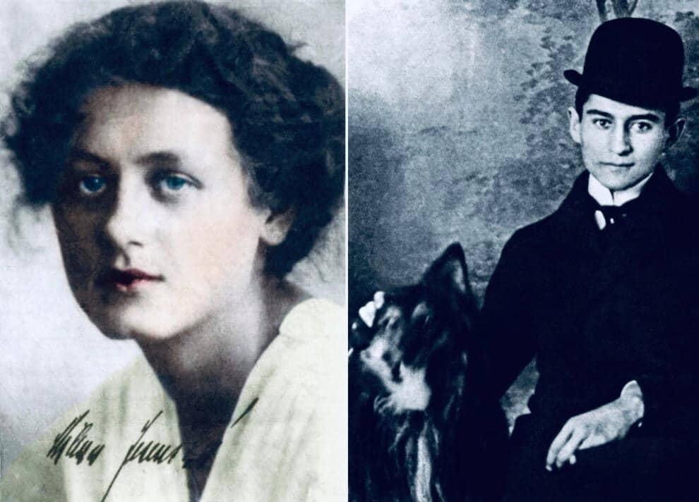 Milena Jesenská y Franz Kafka con su perro