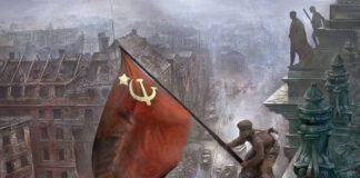 día de la victoria alzando la bandera sobre el reichstag