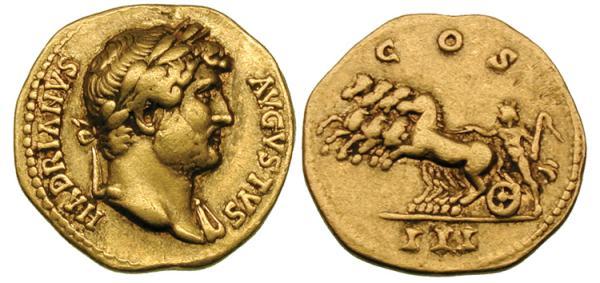 Áureo del emperador Adriano, datado en el año 126.