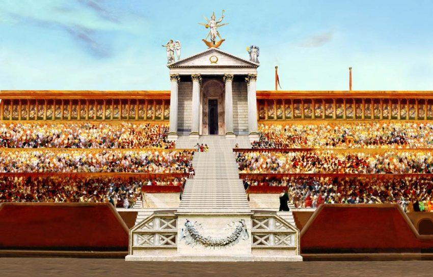 Recreación digital actual del templo de Sol en el Circo Máximo