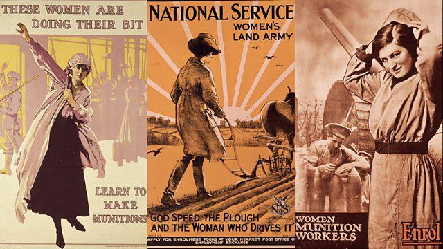 V - Carteles de propaganda ingleses durante la Primera Guerra Mundial, invitando a las mujeres a trabajar en la industrias y el campo