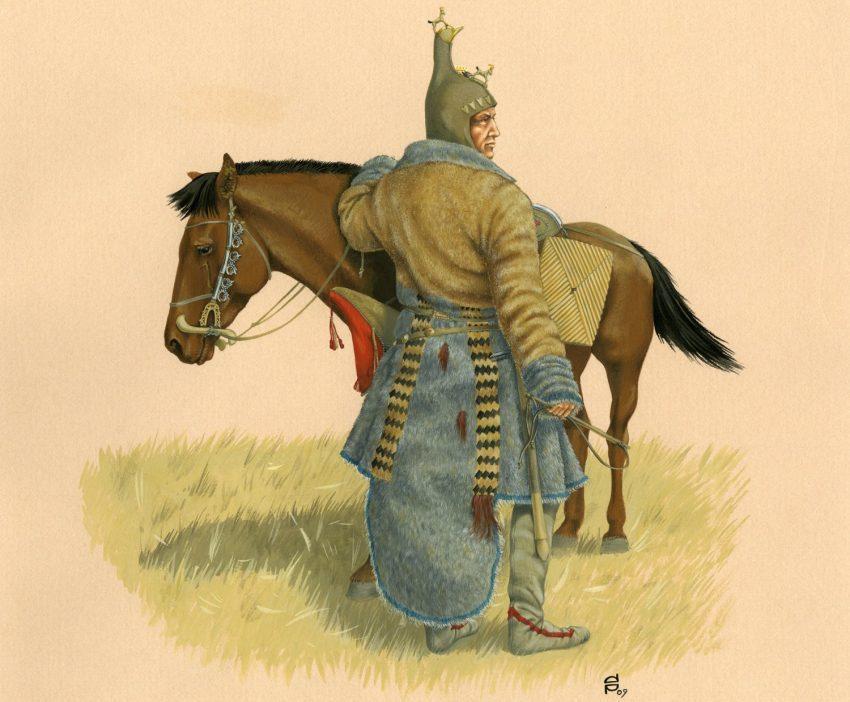 Hombre escita y su caballo