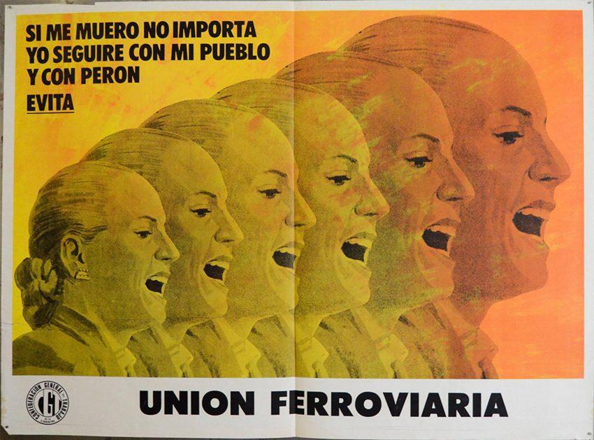 Cartel sindical de la CGT recordando la figura de Evita. Año 1973