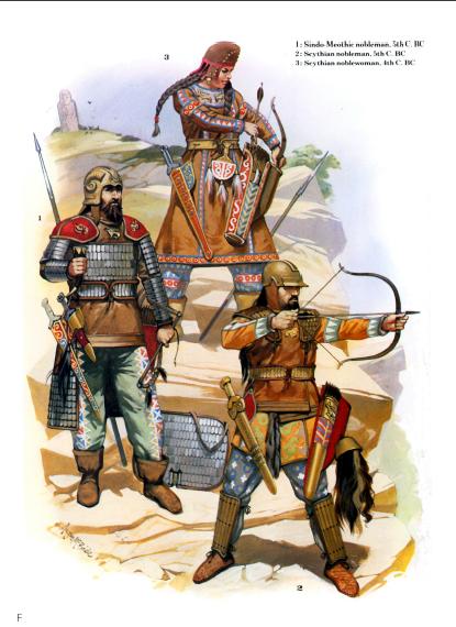 Guerreros y guerrera escita
