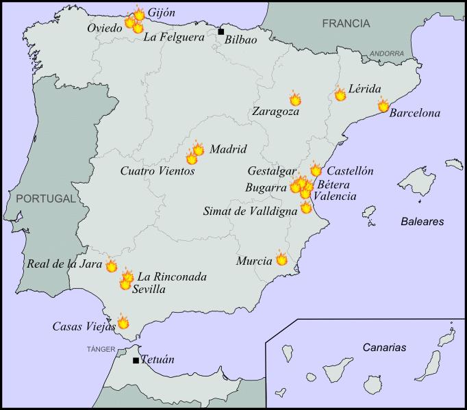 Principales focos revolucionarios en enero de 1933 - Suceso de casas viejas