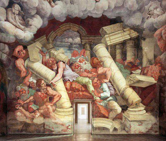 Sala de los Gigantes del Palacio de Te, Giulio Romano, Mantua. Gigantomaquia
