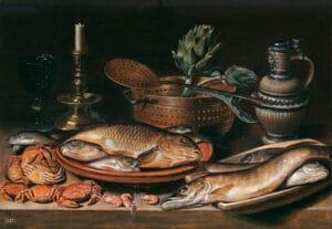 Bodegón con pescado, vela, alcachofas, cangrejos y gambas por Clara Peeters - pintoras del Prado