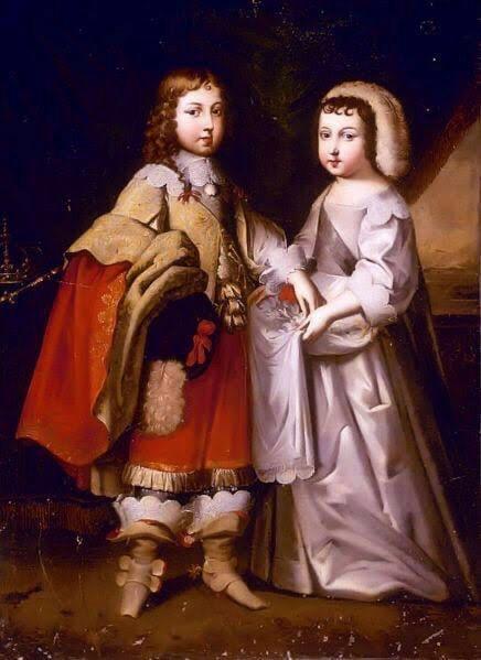 """Luis XIV y su """"hermanita"""" Felipe de Orleans."""