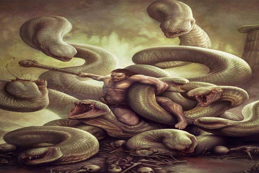 monstruos de la mitología griega Hércules derrotando a la Hidra