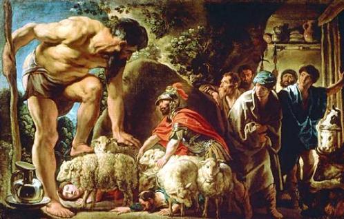 """""""Odiseo en la cueva de Polifemo"""", por Jacob Jordaens"""