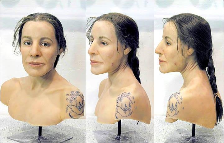 Reconstrucción del rostro de una mujer escita