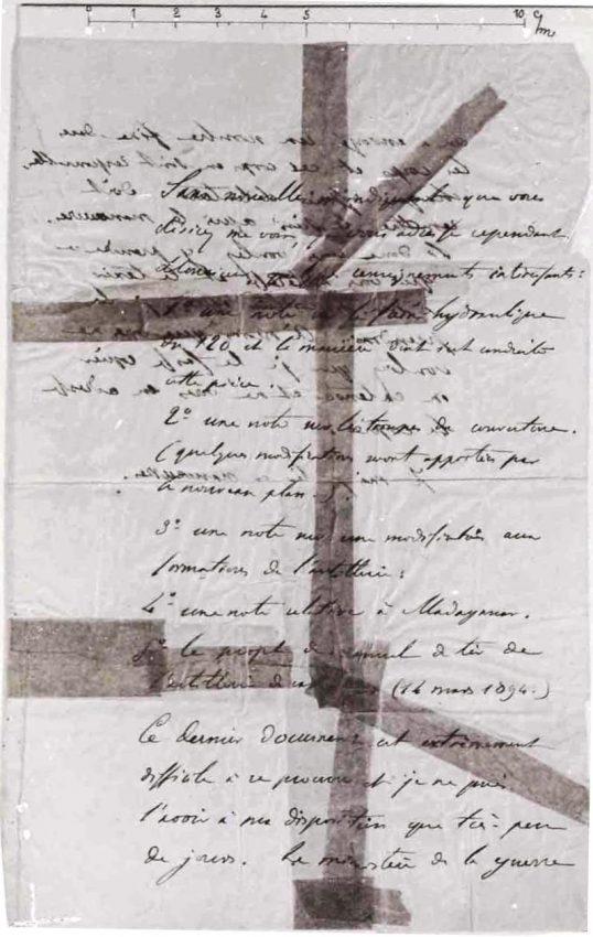 El 'bordereau', la nota en la que un anónimo oficial francés ofrecía revelar secretos militares a los alemanes