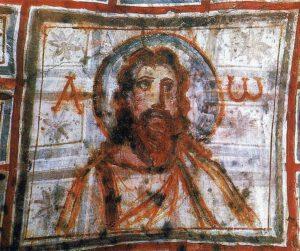 Pintura de Cristo entre alfa y omega catacumbas pintura románica