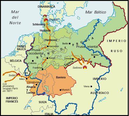 Mapa de la guerra Franco-Prusiana