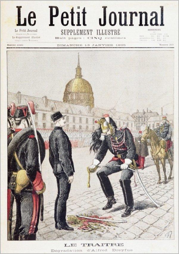Portada ilustrada de Le Petit Journal en la que se muestra el proceso de degradación de Dreyfus.