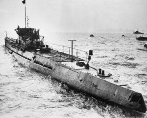 Modelo de submarino alemán durante la Segunda Guerra Mundial 1939-1945.