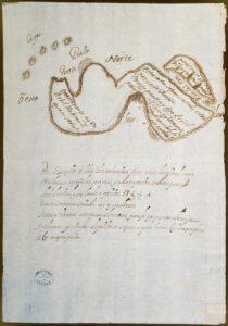 Isla misteriosa hallada por Simón Zacarías entre Cuba y Cartagena de Indias, cerca de la isla de Pinos en 18º y 50'. Fuente: PARES