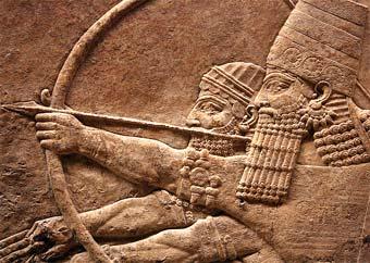 Asurbanipal rey de Asiria cazando leones