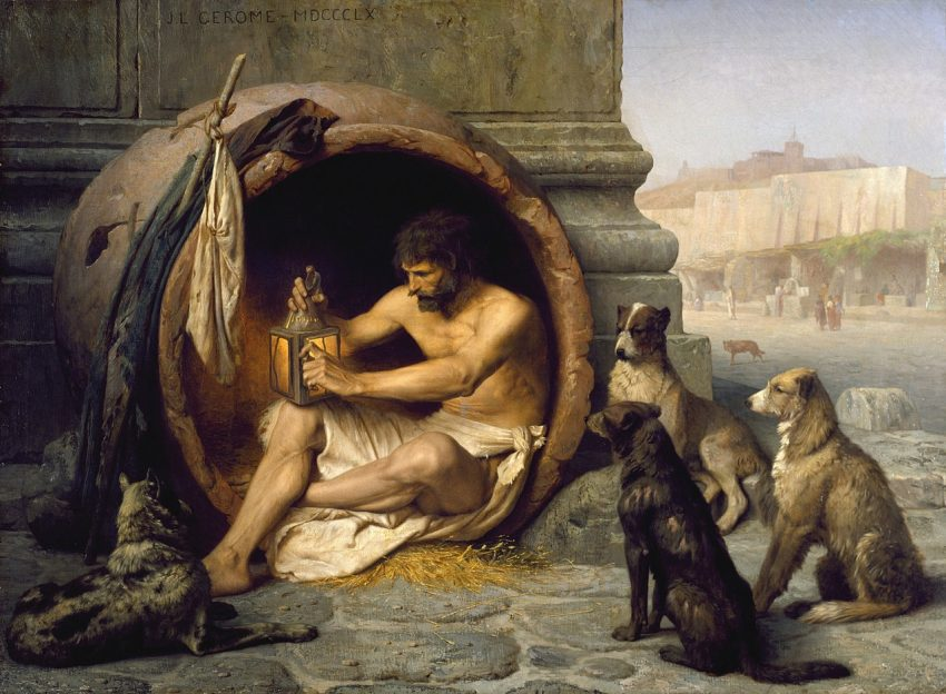 Diógenes de Sinope tinaja perros filósofo cínico