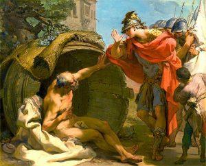 Diógenes de sinope y Alejandro Magno historia sol pintura