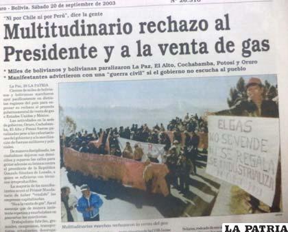 La Guerra Del Gas Jornadas De Octubre Negro. Prensa Boliviana. Fuente: La Patria